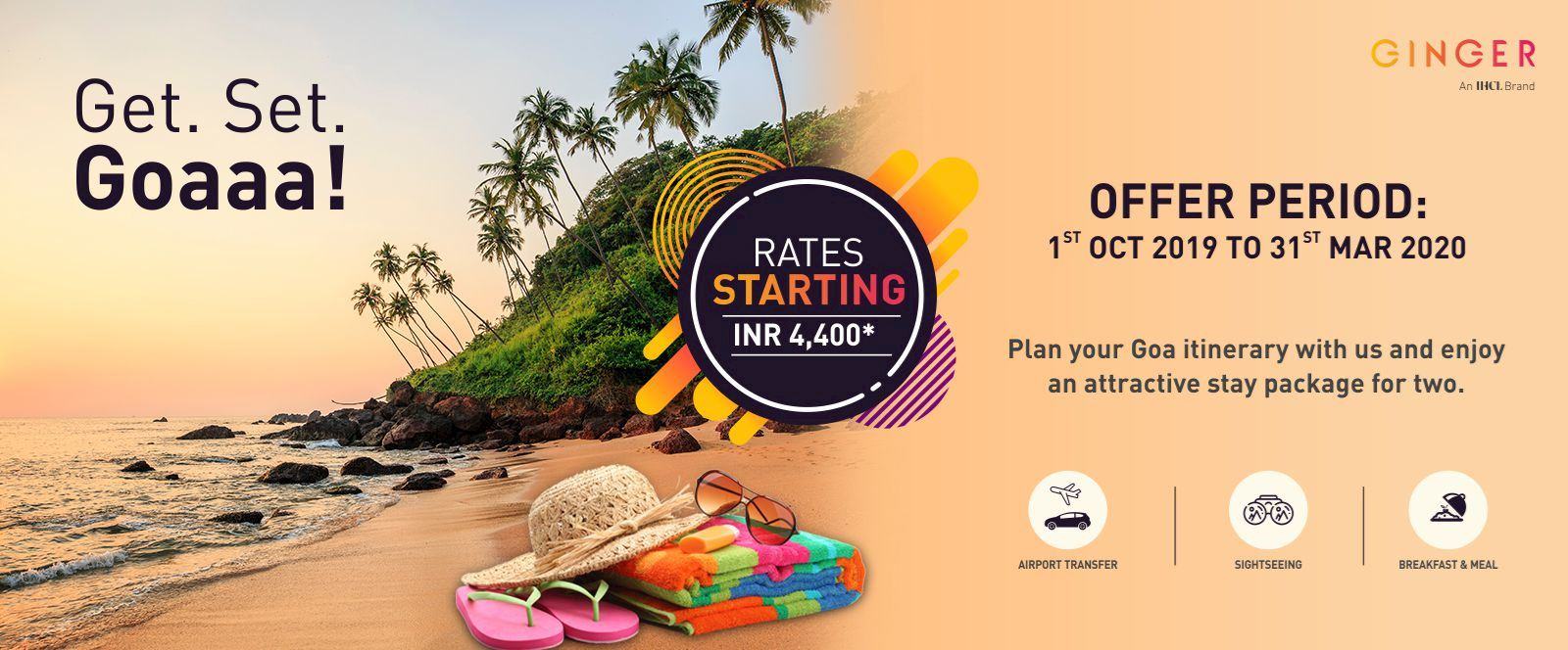 Ginger Goa Tour Package. Rate starting at Rs.4,400/-