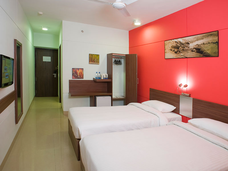 Twin Room Facing Mini Fridge at Ginger Bangalore IRR